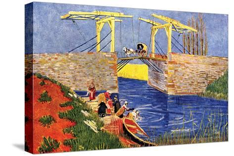 The Langlois Bridge at Arles with Women Washing-Vincent van Gogh-Stretched Canvas Print
