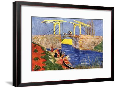 The Langlois Bridge at Arles with Women Washing-Vincent van Gogh-Framed Art Print
