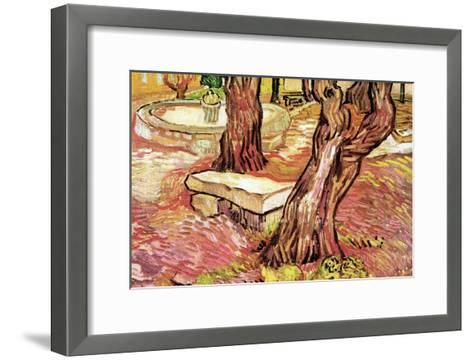 The Stone Bench in the Garden of Saint-Paul Hospital-Vincent van Gogh-Framed Art Print