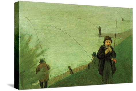Anglers on the Rhine-Auguste Macke-Stretched Canvas Print