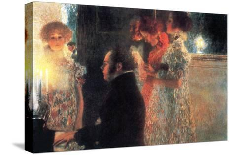 Schubert at the Piano-Gustav Klimt-Stretched Canvas Print
