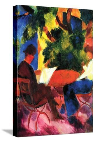 Couple at the Garden Table-Auguste Macke-Stretched Canvas Print
