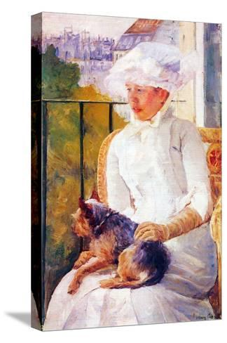 Lady with Dog-Mary Cassatt-Stretched Canvas Print