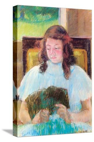 Young Girl Reading-Mary Cassatt-Stretched Canvas Print