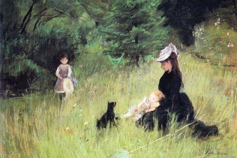 In the Meadow-Berthe Morisot-Stretched Canvas Print