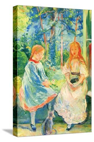 Two Girls by the Window-Berthe Morisot-Stretched Canvas Print