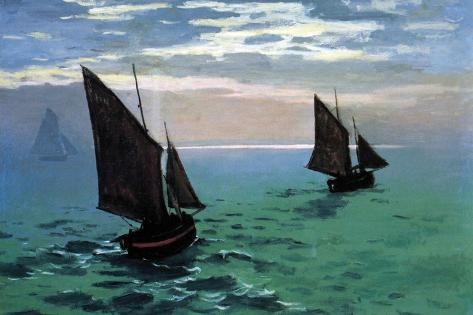 Le Havre - Exit the Fishing Boats from the Port-Claude Monet-Stretched Canvas Print
