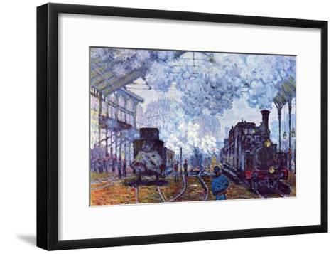 Saint Lazare Station in Paris, Arrival of a Train-Claude Monet-Framed Art Print