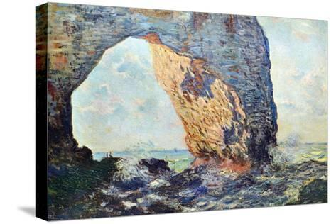 The Rocky Cliffs of ?tretat (La Porte Man) [1]-Claude Monet-Stretched Canvas Print