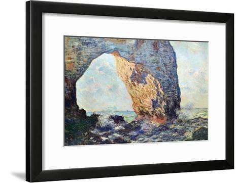 The Rocky Cliffs of ?tretat (La Porte Man) [1]-Claude Monet-Framed Art Print