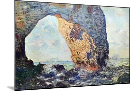 The Rocky Cliffs of ?tretat (La Porte Man) [1]-Claude Monet-Mounted Art Print