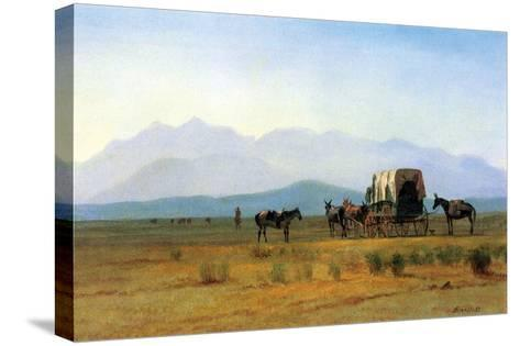 The Stagecoach in the Rockies-Albert Bierstadt-Stretched Canvas Print
