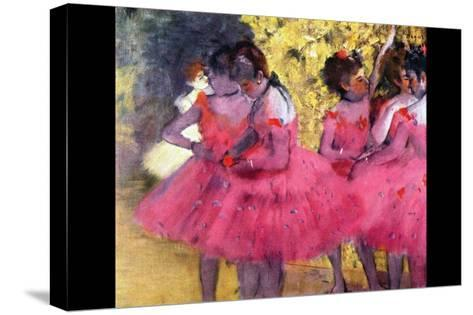 Dancers in Pink Between the Scenes-Edgar Degas-Stretched Canvas Print