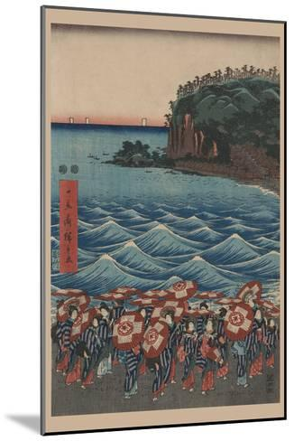 Opening Celebration of Benzaiten Shrine at Enoshima in Soshu-Ando Hiroshige-Mounted Art Print