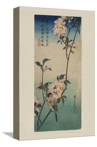 Small Bird on a Branch of Kaidozakura (Kaido Ni Shokin)-Ando Hiroshige-Stretched Canvas Print