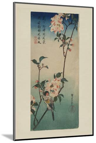 Small Bird on a Branch of Kaidozakura (Kaido Ni Shokin)-Ando Hiroshige-Mounted Art Print