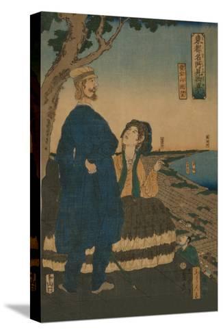 Enjoying the View from Atago Hill (Atago Yama Cho?Bo?)-Sadahide Utagawa-Stretched Canvas Print