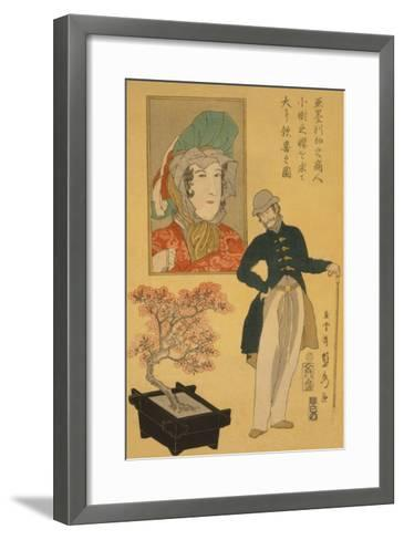 American Merchant Delighted with Miniature Cherry Tree-Sadahide Utagawa-Framed Art Print