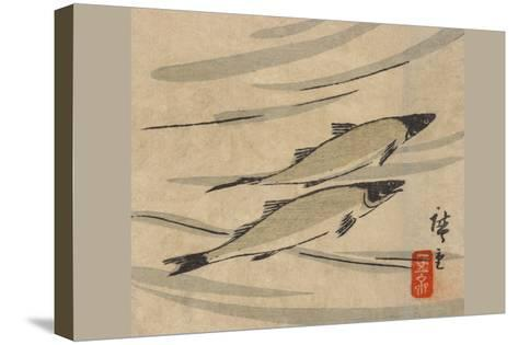 River Trout (Ayu Zu)-Ando Hiroshige-Stretched Canvas Print