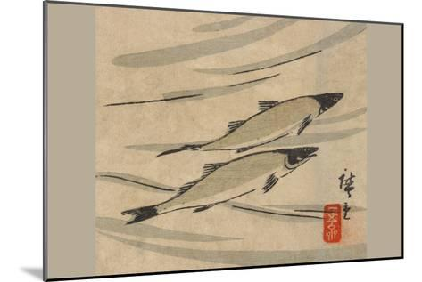River Trout (Ayu Zu)-Ando Hiroshige-Mounted Art Print