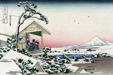 Tea House at Koishikawa-Katsushika Hokusai-Stretched Canvas Print