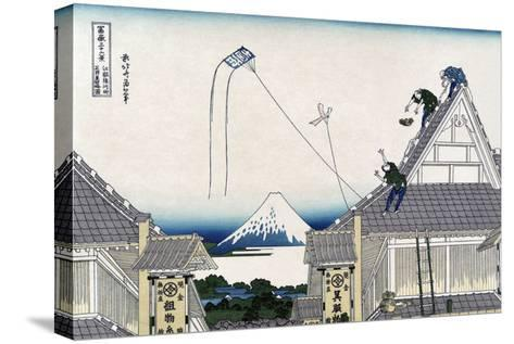 A Ketch of the Mitsui Shop in Surugstreet in Edo-Katsushika Hokusai-Stretched Canvas Print