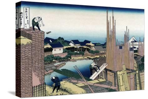 Honjo Tatekawa, the Timber Yard at Honjo-Katsushika Hokusai-Stretched Canvas Print