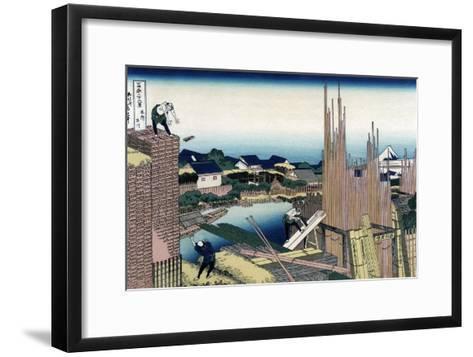 Honjo Tatekawa, the Timber Yard at Honjo-Katsushika Hokusai-Framed Art Print