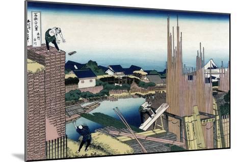 Honjo Tatekawa, the Timber Yard at Honjo-Katsushika Hokusai-Mounted Art Print