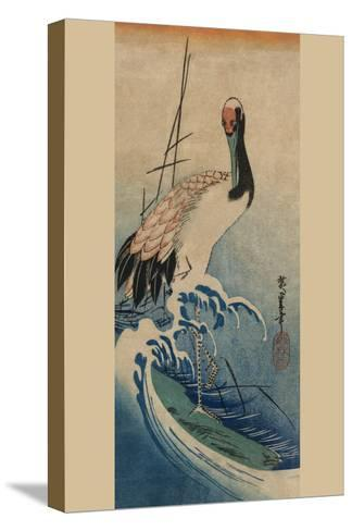 Crane in Waves-Ando Hiroshige-Stretched Canvas Print
