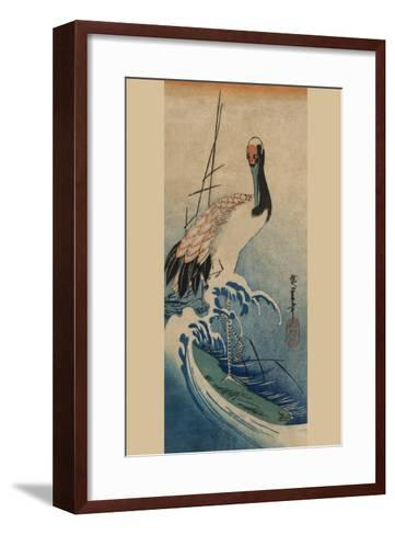 Crane in Waves-Ando Hiroshige-Framed Art Print