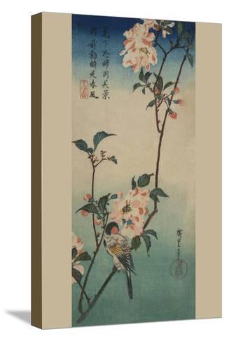 Small Bird on a Branch of Kaidozakura.-Ando Hiroshige-Stretched Canvas Print