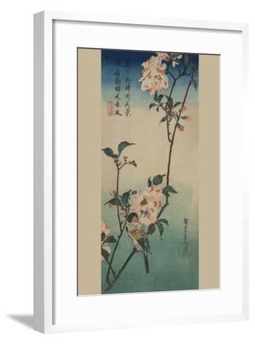 Small Bird on a Branch of Kaidozakura.-Ando Hiroshige-Framed Art Print