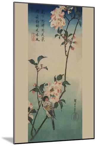 Small Bird on a Branch of Kaidozakura.-Ando Hiroshige-Mounted Art Print