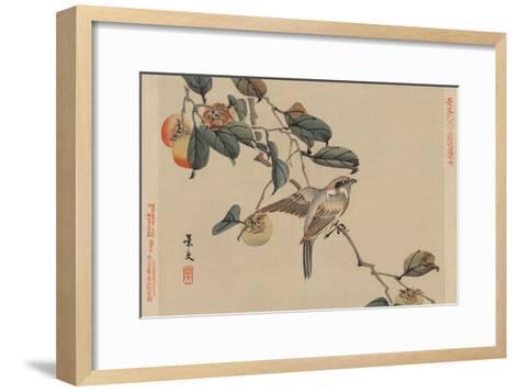 Bird Perched on a Branch from a Fruit Persimmon Tree.-Keibun Matsumura-Framed Art Print
