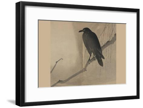 Crow on a Willow Branch--Framed Art Print