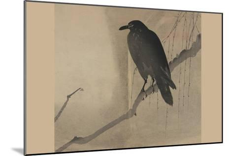 Crow on a Willow Branch--Mounted Art Print