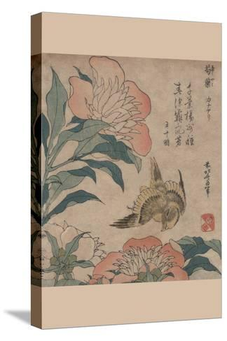 Peony and Canary-Katsushika Hokusai-Stretched Canvas Print