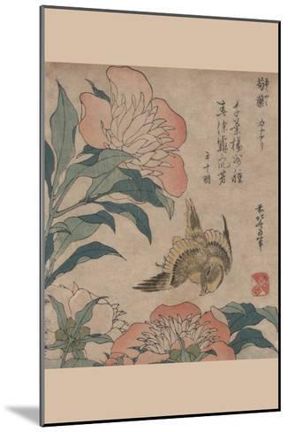 Peony and Canary-Katsushika Hokusai-Mounted Art Print