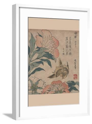 Peony and Canary-Katsushika Hokusai-Framed Art Print