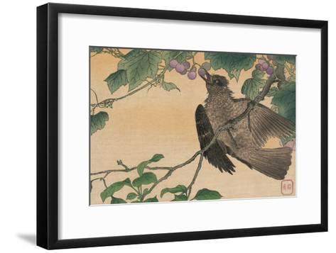 Bird Eating a Grape-Kuwagata Kesai-Framed Art Print