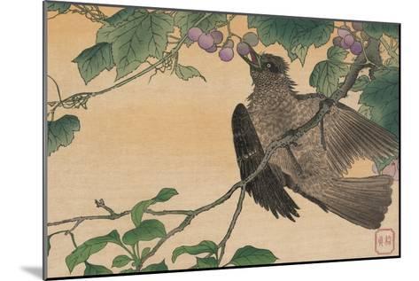 Bird Eating a Grape-Kuwagata Kesai-Mounted Art Print