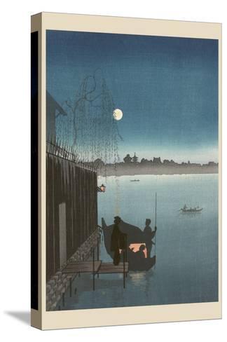 Sanbashi Bridge in Fukugawa at Night.--Stretched Canvas Print