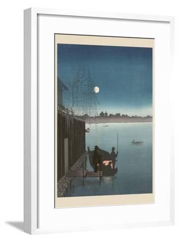 Sanbashi Bridge in Fukugawa at Night.--Framed Art Print
