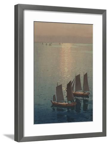 Dusk Blankets a Still Lake over Sailboats--Framed Art Print