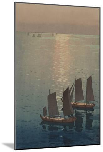 Dusk Blankets a Still Lake over Sailboats--Mounted Art Print