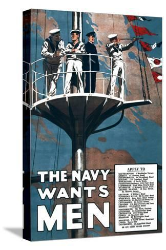 The Navy Wants Men- Mortimer Co-Stretched Canvas Print