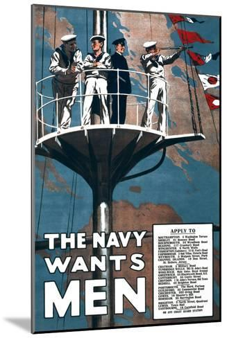The Navy Wants Men- Mortimer Co-Mounted Art Print