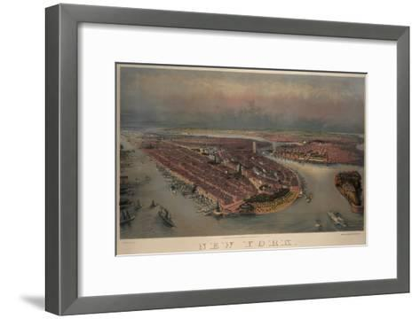 Birds-Eye View of Manhattan, New York--Framed Art Print