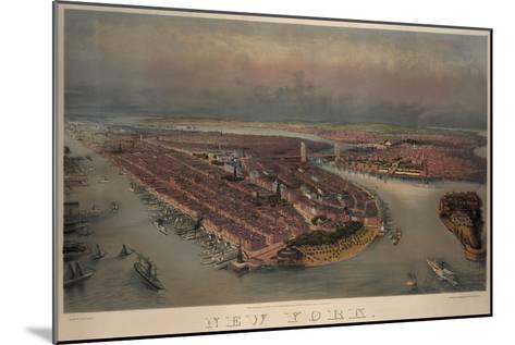 Birds-Eye View of Manhattan, New York--Mounted Art Print